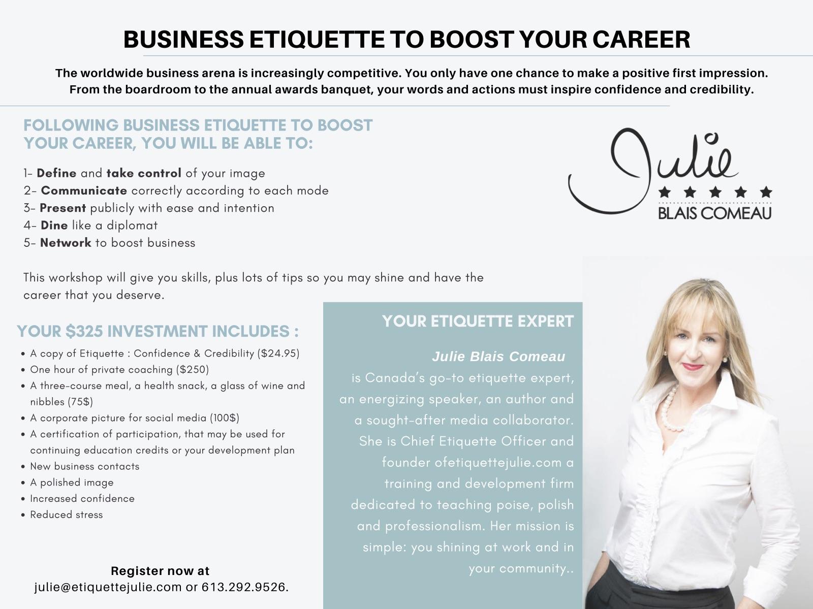 Business Etiquette Workshop Julie Blais Comeau