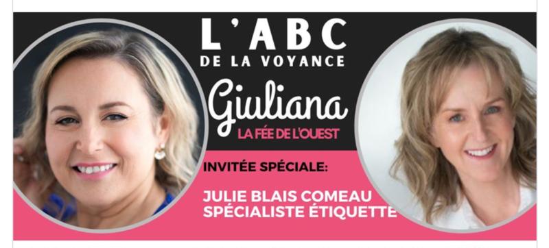 Julie Blais Comeau étiquette ABC Voyance Giuliana iulliani